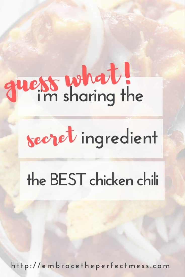 This is the BEST chili ever! So good, and I love that it's made with chicken instead of beef!
