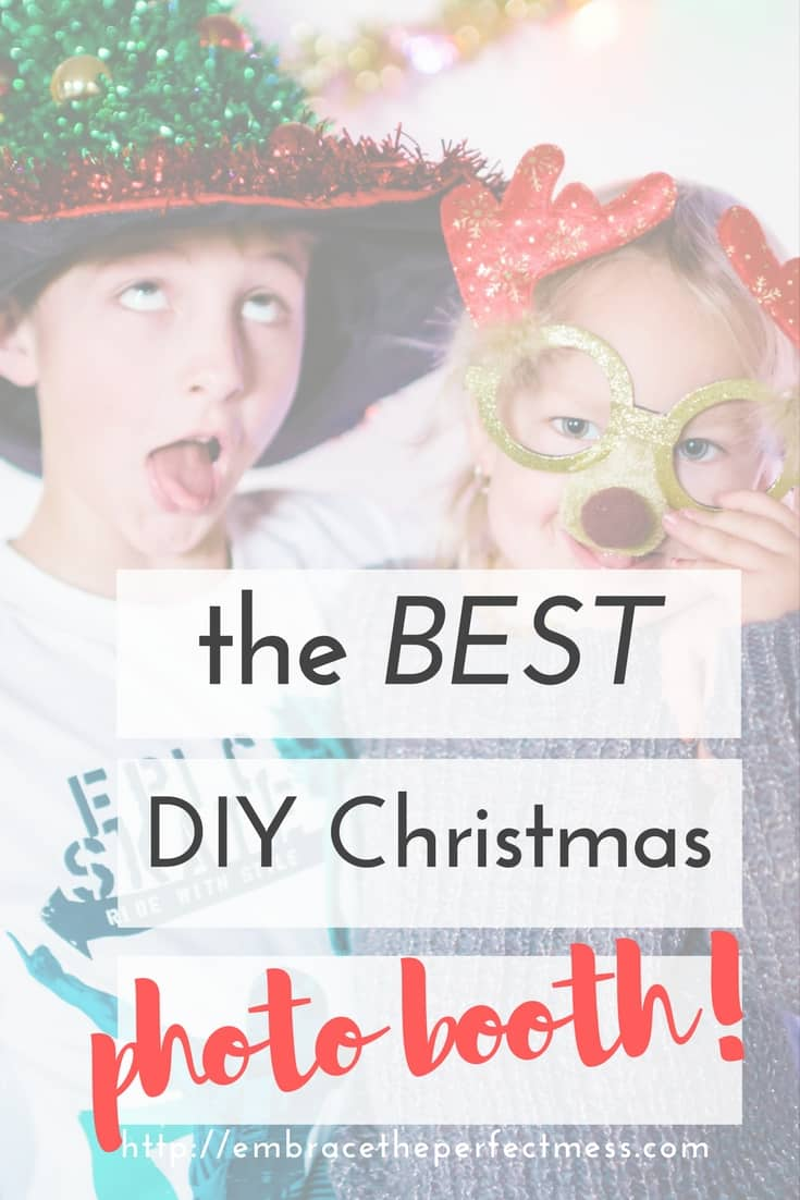 Adding a DIY Christmas party photo booth to your Christmas party is such a fun way to make sure you capture all of your guests! #photobooth #Christmasphotobooth #diyphotobooth