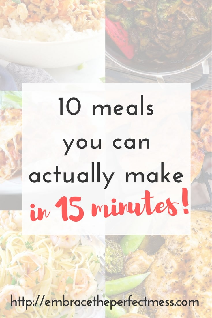 I so needed these ideas for 15 minute dinner recipes for families! We are so busy during the week, and there are so many times we end up getting take out. This is totally going to help with that!