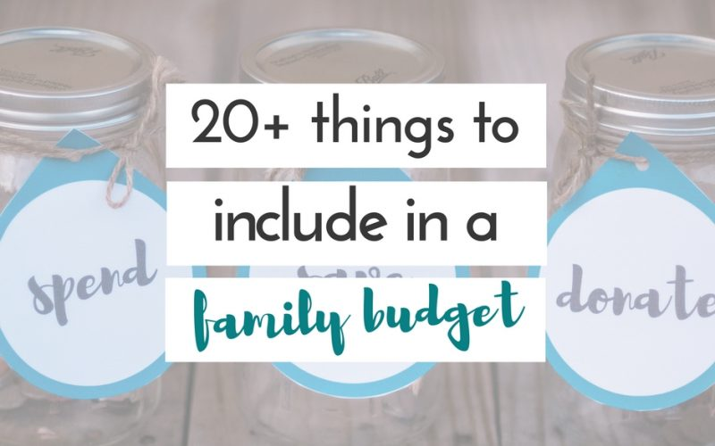 things to include in a family budget