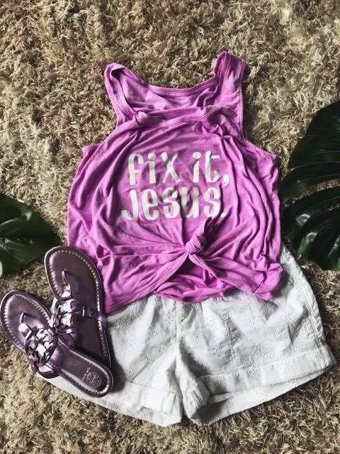This adorable Fix it, Jesus tank top shirt is the perfect way to show your faith! -Sizing Hint: Women's tank top.