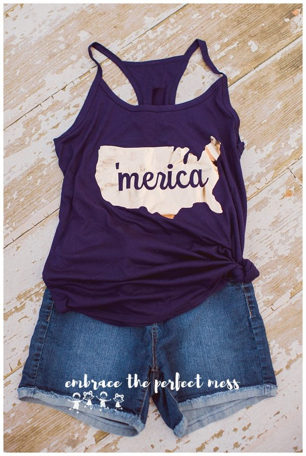 This adorable Gold 'Merica tank is the perfect way to show your patriotism! What a great 4th of July shirt! -Sizing Hint: Regular youth shirt. Regular adult sizing (All patriotic shirt designs can be made on either red t-shirts, blue t-shirts, or navy tanks).