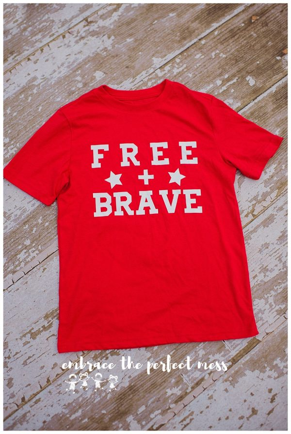 This free + brave shirt is the perfect way to show your patriotism! What a great 4th of July shirt! -Sizing Hint: Regular youth shirt. Regular adult sizing (All patriotic shirt designs can be made on either red t-shirts, blue t-shirts, or navy tanks).