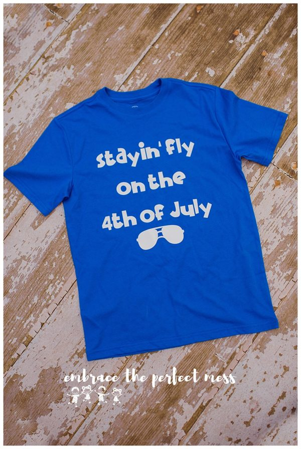 This stayin' fly on the 4th of July shirt is the perfect way to show your patriotism! What a great 4th of July shirt! -Sizing Hint: Regular youth shirt. Regular adult sizing (All patriotic shirt designs can be made on either red t-shirts, blue t-shirts, or navy tanks).